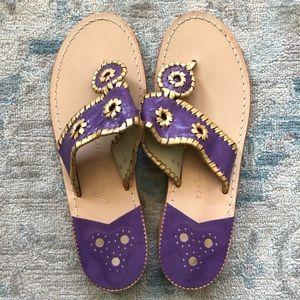 NWOB Jack Rogers Leather Sandal in Purple & Gold